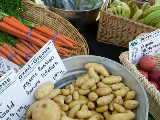 Produce on display at the Estrella Lakeside Farmers Market.