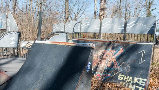 Parts for a skateboard park stored at Vineland Public Works that will be auctioned off.
