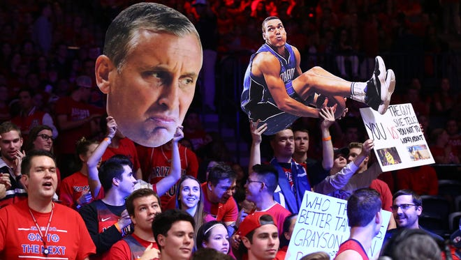 The Arizona Wildcats students section roots against ASU on Jan. 12, 2017 at McKale Center in Tucson.