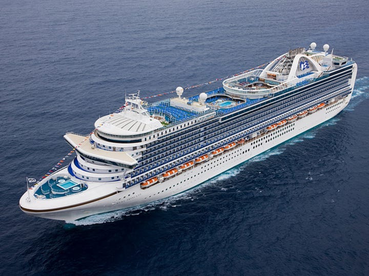 41. Ruby Princess, built by Princess Cruises in 2008 weighs 113,561 GT and holds 3,080 passengers at double occupancy.