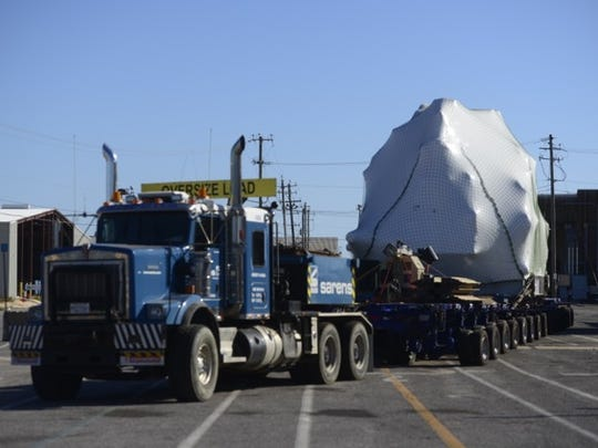A large steam turbine will begin its journey from the Port of Pensacola to the Georgia Pacific in Brewton, Ala.