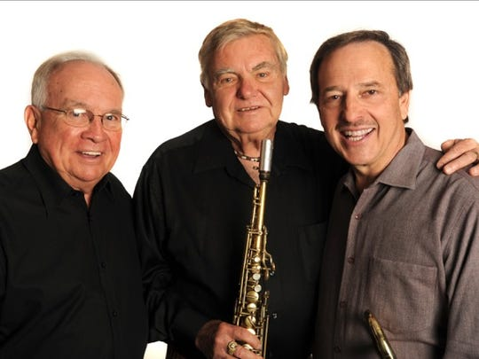 """Collaborators on Allan Kaplan's first solo trombone CD, """"Fotografia"""" include, from left, arranger Bill Thompson, jazz legend Mack Goldsbury and Kaplan. """"I chose some of my favorite things"""" for the recording, Kaplan said."""