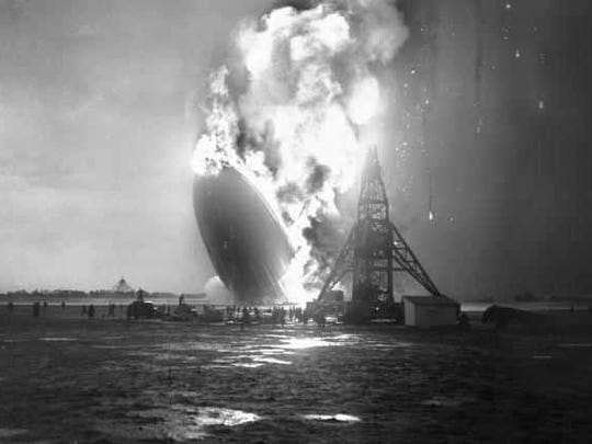 The moment of the crash of the Hindenburg at Lakehurst, New Jersey.