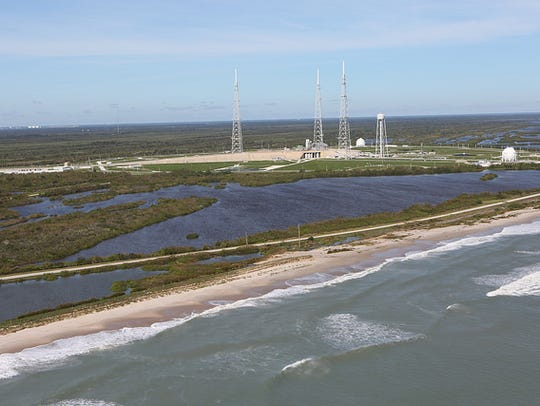 Launch Complex 39B is seen during a recent aerial survey