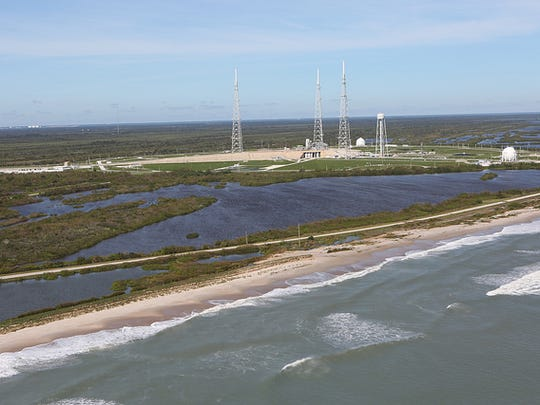 Launch Complex 39B is seen during a recent aerial survey of NASA's Kennedy Space Center in Florida. The survey was performed to identify structures and facilities that may have sustained damage from Hurricane Matthew as the storm passed to the east of Kennedy on Oct. 6 and 7, 2016. Officials determined that the center received some isolated roof damage, damaged support buildings, a few downed power lines, and limited water intrusion. Beach erosion also occurred, although the storm surge was less than expected. NASA closed the center ahead of the storm's onset and only a small team of specialists known as the Rideout Team was on the center as the storm approached and passed.