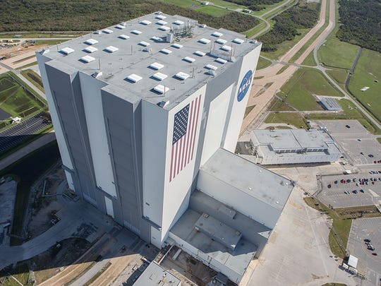 The Vehicle Assembly Building is seen during an aerial