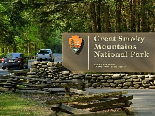 The entrance to the Great Smoky Mountains National
