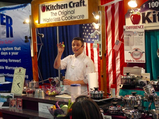 Chef Nicholas Castellano, of Kitchen Craft Waterless Cookware, demonstrates how to use the company's products at the 2017 REAL Home Show on Saturday, March 18.