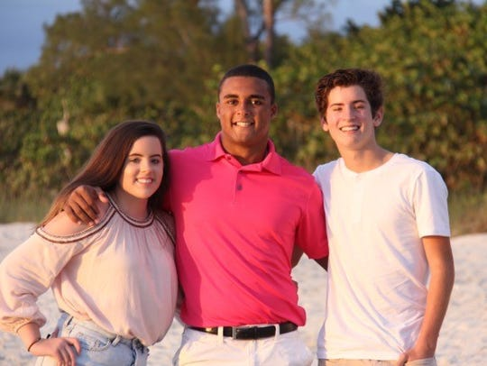 Russell DeMarco in Florida with Zoe and Avery Hines.