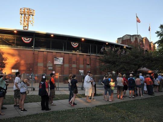 Fans line up outside Bosse Field