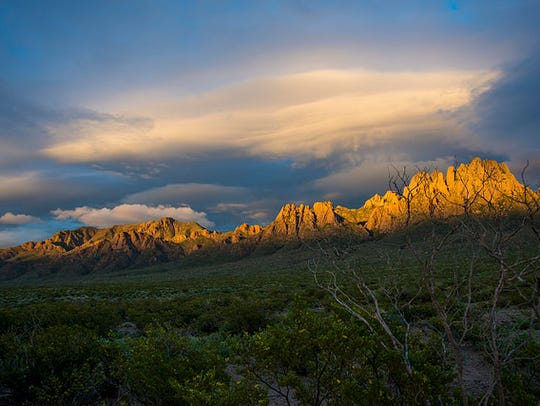 The Organ Mountains at sundown.