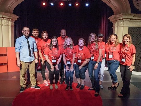 The TEDxFondduLac organizing team celebrates a successful first-time event on Saturday, Aug. 19, 2017. Pictured are, from left: Joe Truesdale, Josh Cowles, Tiffany Heim, Katie Tank, Jeff Stueber, Gina Popp, Sarah Spang, Jenny Knuth, Christa Williams, Kristi Wilkum and Lori Namur.