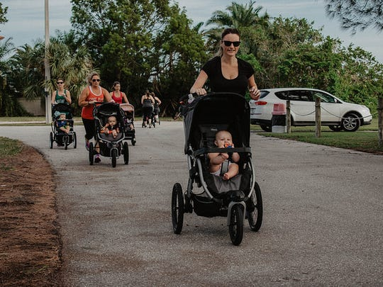 Walking with strollers is a regular activity for new moms and their babies during Baby Boot Camp classes.