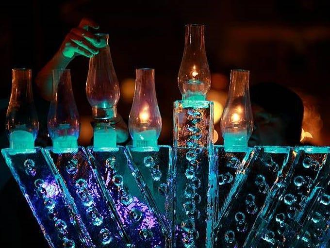 A lighting of the menorah ice sculpture was held Dec.