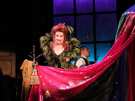 "Sally Mayes as opium proprietor Princess Puffer in ""The Mystery of Edwin Drood"" at Riverside Theatre in Vero Beach."