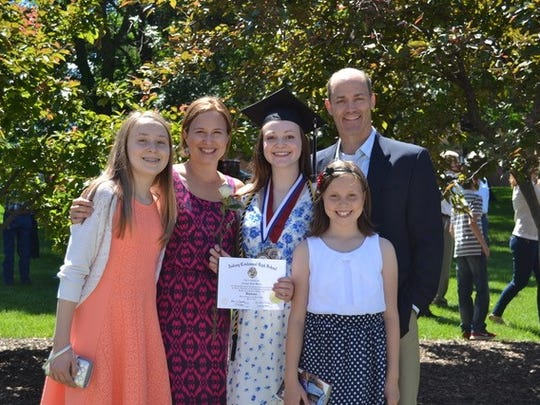 The Gillette family, after Carly's graduation from Ankeny Centennial High School. From left: Madeline, Renee, Carly, Josie and Brian.
