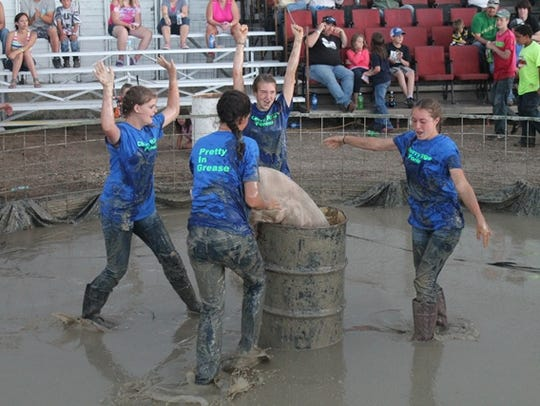A team participates in the pig wrestling event during