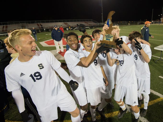 Salesianum celebrates after defeating Appoquinimink