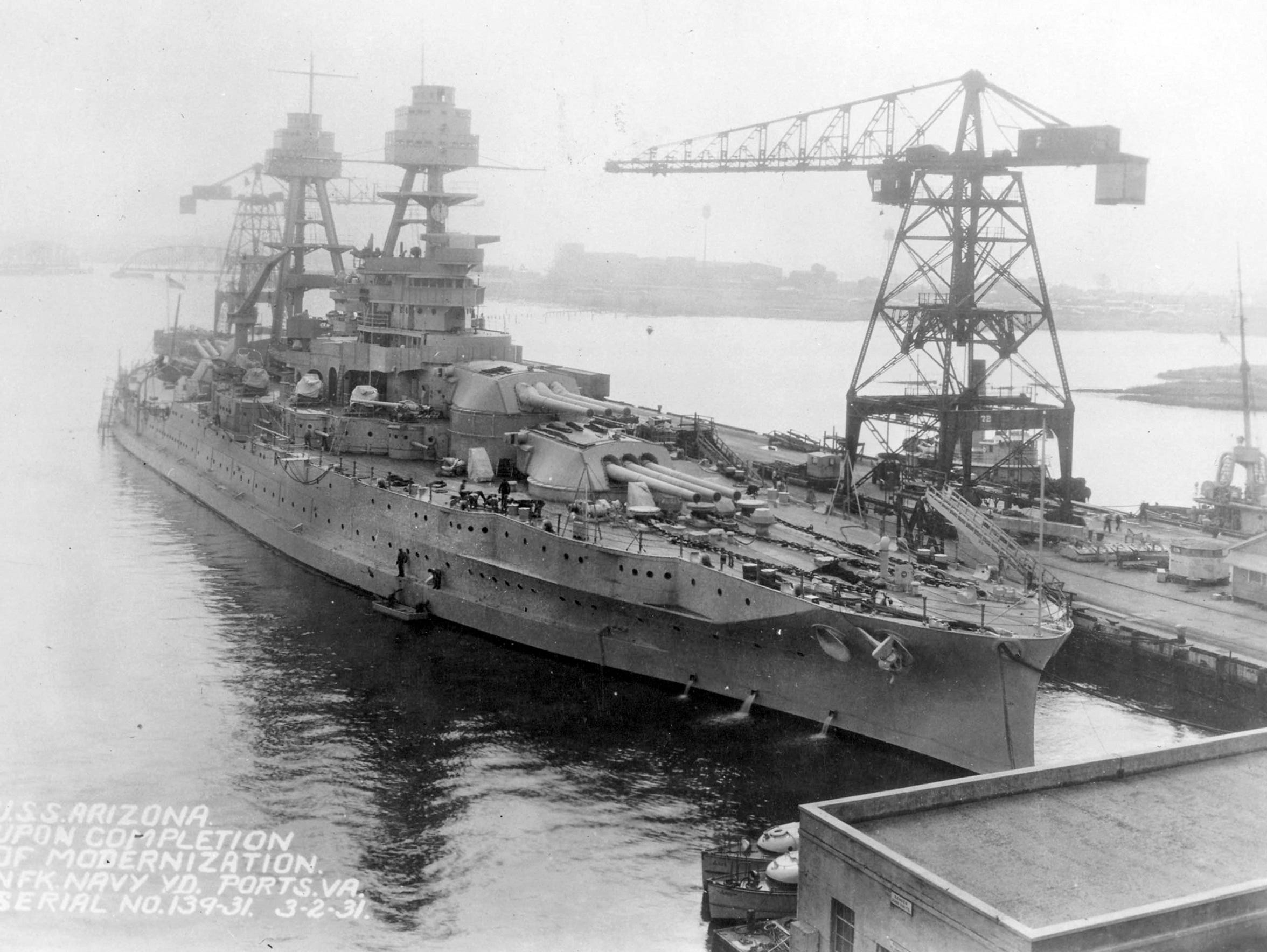 The USS Arizona in 1931, after completing a modernization