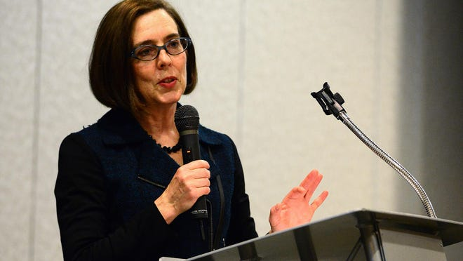 Gov. Kate Brown speaks May 19 during a Salem Chamber of Commerce and SEDCOR welcome event in Salem.