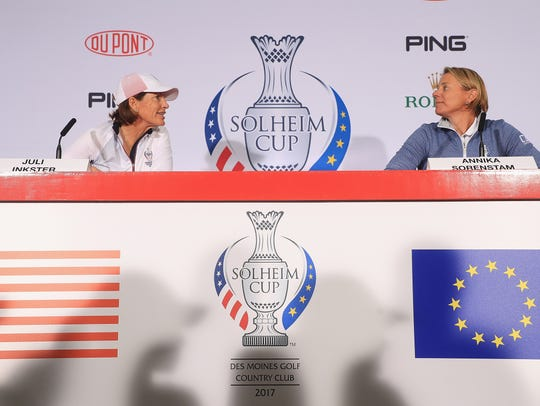 U.S. Solheim Cup captain Juli Inkster, left, and European