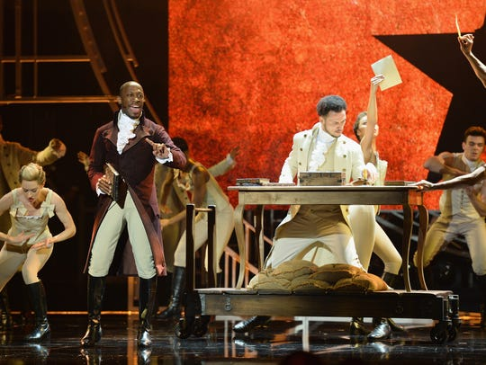 "The cast of ""Hamilton"" performs during the Olivier"