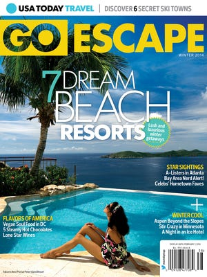 USA TODAY Travel's Go Escape magazine showcases great destinations across North America. The winter 2014 edition features articles on beach resorts, ski towns, food tourism, celebrity favorites, and more. Buy it on magazine newsstands across the USA and Canada or online at goescape.usatoday.com.