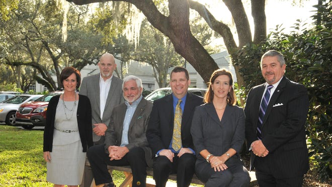Members of Business Voice political action committee. Left to right, Kimberly Meehan Agee, I. Wayne Cooper, Larry McIntyre, Travis Proctor, Kathryn Rudloff, and Frank Kaiser. T
