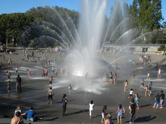 The Seattle Center fountain is a perfect (and free) place to cool off on hot summer afternoons