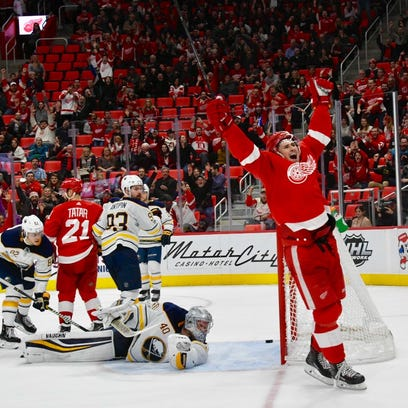 Red Wings' Dylan Larkin celebrates his goal in the