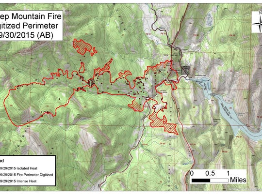 Sheep Mountain fire perimeter as of Sept. 30.