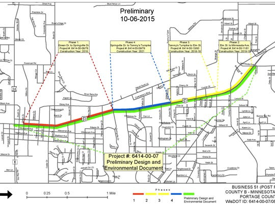 This map shows the preliminary project schedule for the Business 51 construction in Plover.