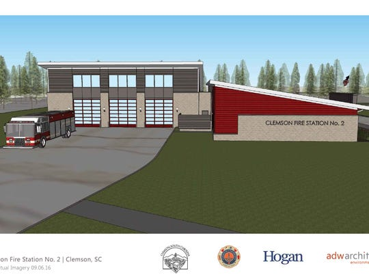 Approximate rendering of the new Clemson fire station