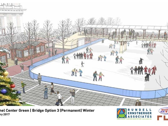 Rendering of a permanent bridge at Carmel's proposed