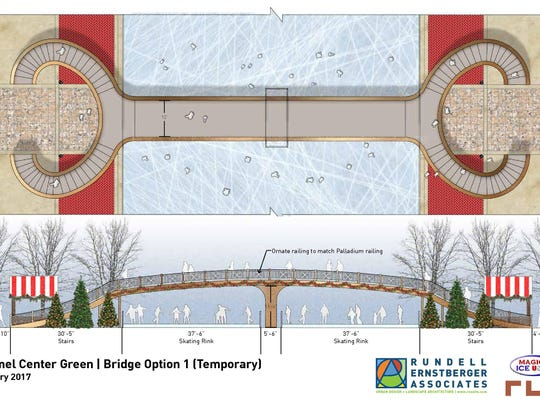Option for a temporary bridge at Carmel's proposed ice skating rink.