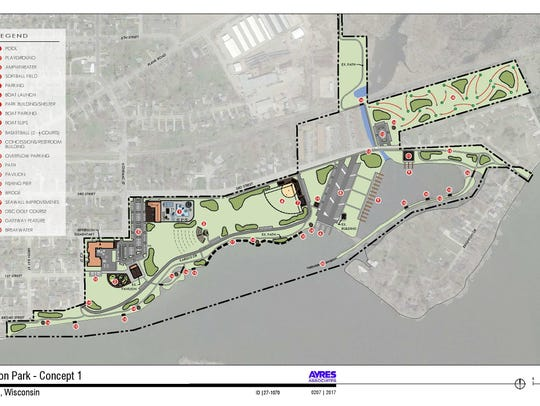 Concept 1 for Jefferson Park in Menasha.