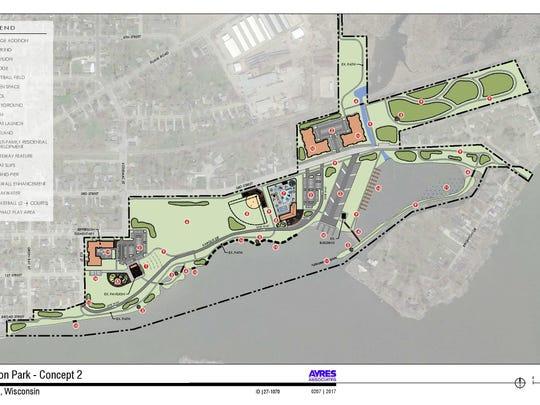 Concept 2 for Jefferson Park in Menasha.