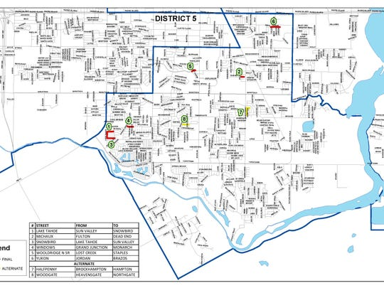 A map of District 5 in Corpus Christi shows which residential