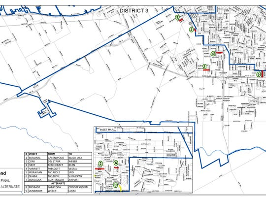 A map of District 3 in Corpus Christi shows which residential