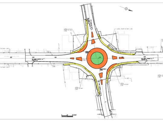 The design plans for the roundabout at PA 394 and 94.