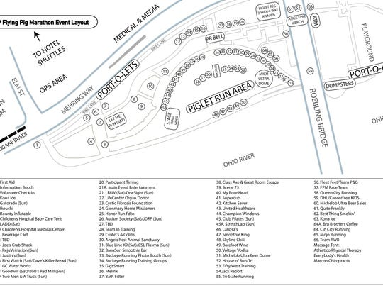 An aerial map view of the event layout stations for