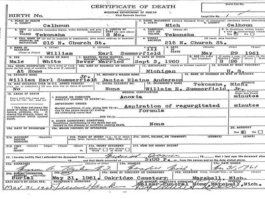 The death certificate for William Summerfield III lists anoxia, or oxygen deprivation to the brain, as the cause of death.