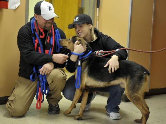 John Frisch and Kristina Millman-Rinaldi of Detroit Dog Rescue.
