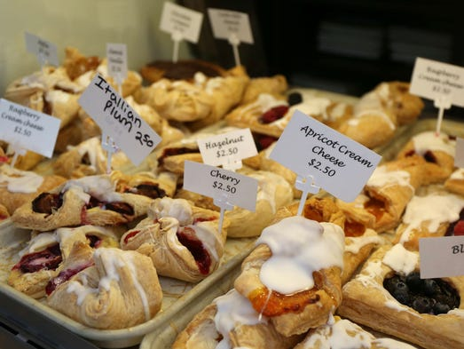 Various pastries available at the Strudl Haus in Des