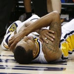 George Hill injured his left shoulder in the fourth quarter of the Pacers' Thursday night win over the Milwaukee Bucks