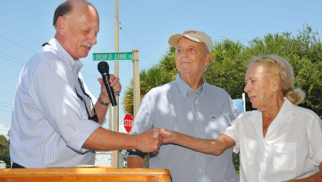 """An """"I Dream of Jeannie"""" marker was dedicated in 2012 at the entrance to Lori Wilson Park in Cocoa Beach. Then-Brevard County Commission Chairman Chuck Nelson, former Cocoa Beach Mayor Joe Morgan and former Florida Sen. Lori Wilson were at the podium. Wilson died Jan. 30 at the age of 81."""