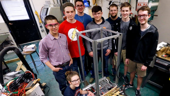 Central Magnet School students (L to R) Maddy Perrien, Graham Hall, Connor Haight, Ethan Davenport, Jimmy Jones, Aidan Gibson, David Schafer, and Braden Henderson, on Tuesday, April 3, 2018, will be competing in a Houston Robotics competition on April 18-21.
