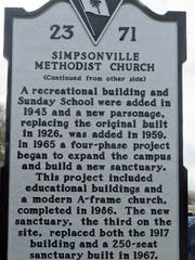The back of the new state historical marker at Simpsonville United Methodist Church.