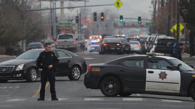 Police cordoned off Second St. at Kuenzli St. Tuesday afternoon after a reported shooting at Renown Medical Center. Photo by Tim Dunn/RGJ