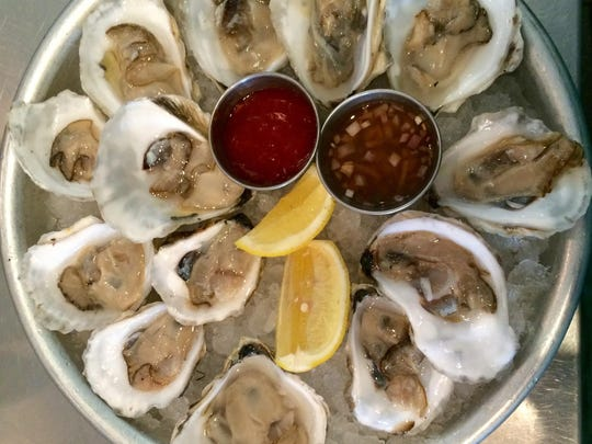 Local oysters are on several restaurant menus during Eat Drink Local Restaurant Week, which began June 20 and runs through Saturday. Here, they are shown at 100 Steps in Cranford.